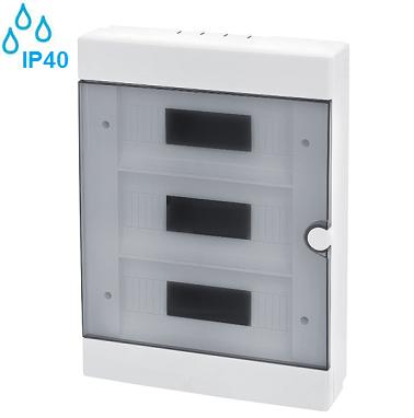 nadometne-nadgradne-zunanje-vodotesne-razdelilne-elektro-omarice-plastične-transparentna-vrata-ip40-trovrstne-šestintridesetmestne