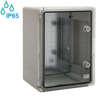 zunanje-elektro-razdelilne-omarice-plastične-ip65-sive-transparentna-vrata-odporne-na-kemikalije-alkalije-soli-kisilne-350x250-mm