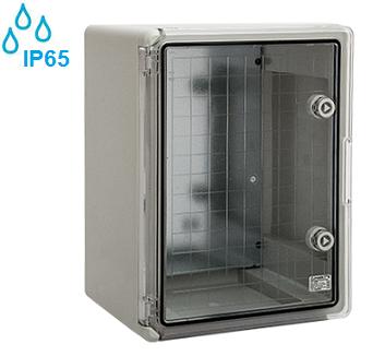 zunanje-elektro-razdelilne-omarice-plastične-ip65-sive-transparentna-vrata-odporne-na-kemikalije-alkalije-soli-kisilne-400x300x170-mm
