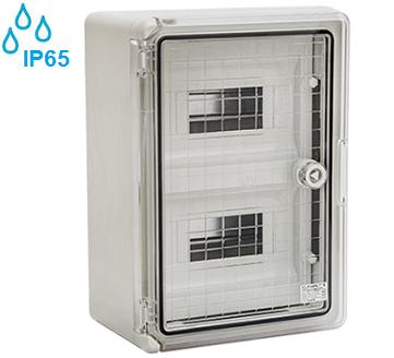 zunanje-nadometne-plastične-samogasilne-razdelilne-elektro-omarice-ip65-transparentna-vrata-dvoredne-dvovrstne-osemnajst-mest-modulov