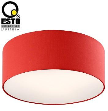 stropna-okrogla-tekstilna-plafonjera-svetilka-esto-rdeča
