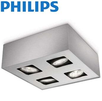 četverna-nadgradna-stropna-reflektorska-spot-svetilka-philips-gu10-aluminij-siva
