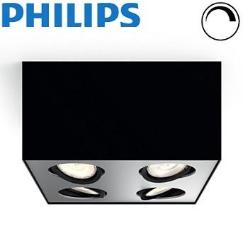 četverni-stropni-led-gibljivi-reflektor-kvadratni-z-nastavljivo-barvo-svetlobe-zatemnilni-regulacijski-philips-box-črni