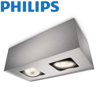 dvojna-nadgradna-stropna-reflektorska-spot-svetilka-philips-gu10-aluminij-siva