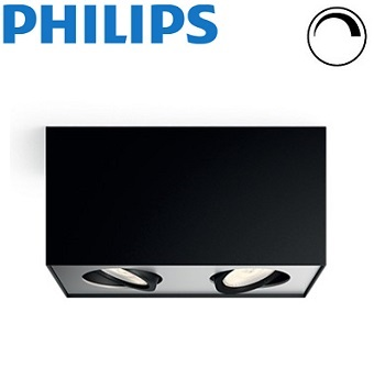 dvojni-stropni-led-gibljivi-reflektor-kvadratni-z-nastavljivo-barvo-svetlobe-zatemnilni-regulacijski-philips-box-črni