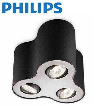 trojni-nadgradni-stropni-spot-reflektor-philips-gu10-črni