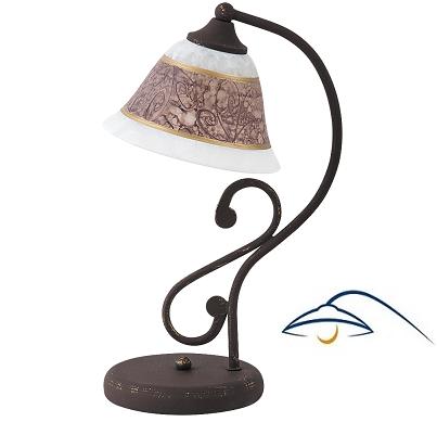 klasična-ročno-poslikana-namizna-svetilka-rjava