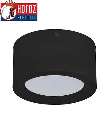 nadometna-stropna-led-svetilka-downlighter-okrogli-črni-horoz-electric-140-mm