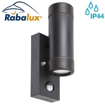 senzorska-stenska-fasadna-svetilka-gu10-z-dvojnim-snopom-dol-gor-črna