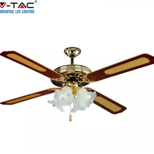 stropni-klasični-ventilator-s-svetilko-rjavi