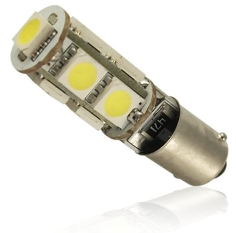 BA9S LED CANBUS SIJALKA 9LED 5050 SMD 2,7W