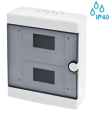 nadometne-nadgradne-zunanje-vodotesne-razdelilne-elektro-omarice-plastične-transparentna-vrata-ip40-dvovrstne-šesnajstmestne