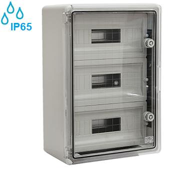 zunanje-nadometne-plastične-samogasilne-razdelilne-elektro-omarice-ip65-transparentna-vrata-troredne-trovrstne-petinštirideset-modulov